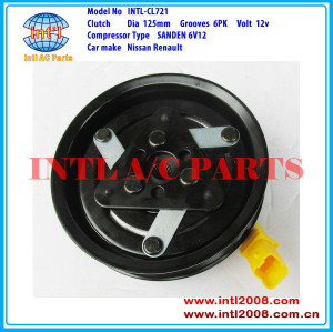 SANDEN 6V12 8200600122 8200651251 8200866437 8200953359 8200953358 air conditioning magnetic clutch pulley for Nissan Renault