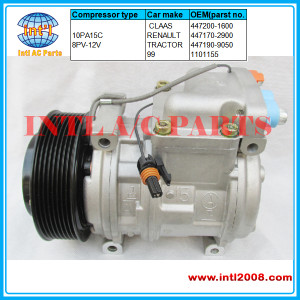 447200-1600 Auto AC compressor 10PA15C-8PV-12V FOR CLAAS RENAULT TRACTOR 99- 447190-9050 1032752.1