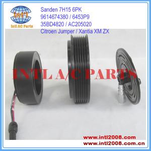 China manufacturer Auto ac clutch Citroen Jumper 230 / Xantia X1/ XM Y4 /ZX N2 Sanden 7H15 Compressor clutch 9614674380 6453P9 AC205020