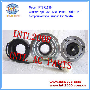 sanden 6V12 7V16 auto ac a/c compressor magnetic clutch assembly Citroen Fiat Lancia Peugeot 6pk pulley 6453FS 9611111780 6453FE