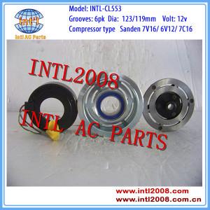 SANDEN 7V16/6V12 Citroen Fiat Lancia Peugeot auto car a/c ac compressor magnetic clutch assembly 6pk 6 grooves pulley 6453JN