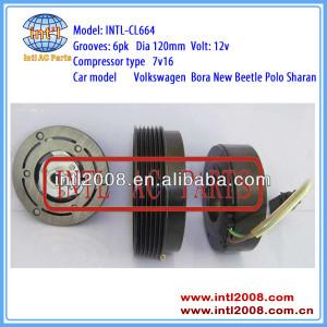 SD7V16 Sanden 1215 1206 6PK 120MM a/c clutch set pulley for Audi Seat SKODA Octavia VW Polo Jetta City 1J0820803F 1J0820803J