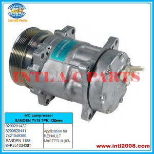 SANDEN 1188 A/C compressor SD7V16 7PK-120mm Fits for RENAULT MASTER III (03- 8200201422 8200628441 7421049380 8FK351334381  China auto air factory