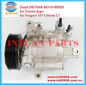 Zexel DKV06R 88310-0H020 auto air compressor for Toyota Aygo Peugeot 107 Citroen C1 506021-7332 883100H020 8610605 40430239 China produce
