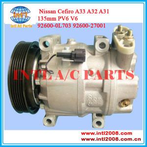 China supply auto ac compressor for Nissan Cerfio V6 Maxima A33 A32 A31 92600-0L703 92600-27001 926000l703 6PK 135mm