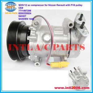 SD6V12-PV6-125mm Compressor for Nissan Micra Note Qashqai 2003-2010/Renault Clio Modus Twingo 2004- 7711368902 27630-00Q0D 27630-00Q0N 8200220924 China manufactory 2763000Q0D