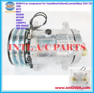 SD5H14 ac compressor for Case/New/Holland/Laverda/Steyr 2GA 12V OE# 4513 6631 526049 401348 S6631 C508PF2 N83-304422 75R-8312