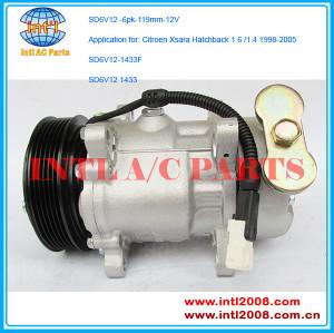 A/C Compressor Sanden SD6V12-1433 1433F 6453JJ 6453FR 3487008145 for Citroen Xsara Hatchback 1.6 /1.4 1998-2005 Kompresor