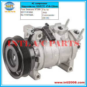 Four Seasons 97399 AC compressor Nippondenso 10SR17C -PV6-120mm fits for Jeep Commander (09-06) 55111414AA RL111414AA