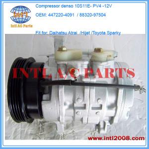 Compressor denso 10S11E for Toyota Sparky 2000 /Daihatsu Atrai 7 1.3L S221G /Hijet 447220-4091 4472204092 88320-97504 447220-4093 8832097504