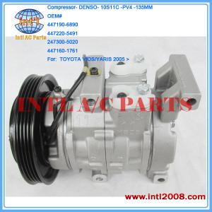 DENSO 10S11C 4PK AC COMPRESSOR for TOYOTA VIOS/YARIS 2005 447190-6890 447220-5491 247300-5020 447160-1761