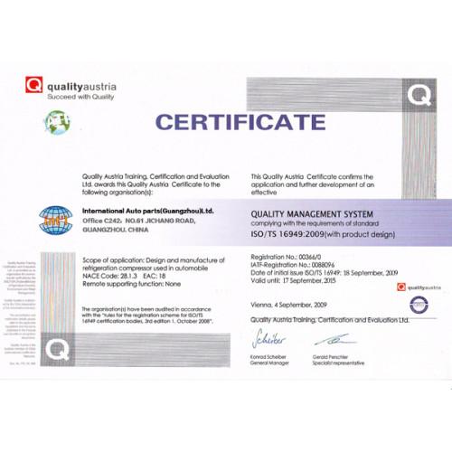 Quality Austria Certificate