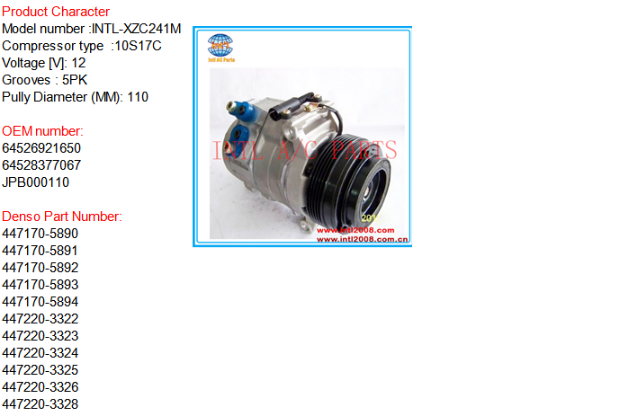 Denso 10S17C 5PK 110MM A 2fC  pressor used for 2000 2006 BMW X5  2fRange Rover L322 30i 30d diesel  2f44i petrol 64526921650 64528377067 auto manufactory air conditioner likewise  on 2001 daewoo taa