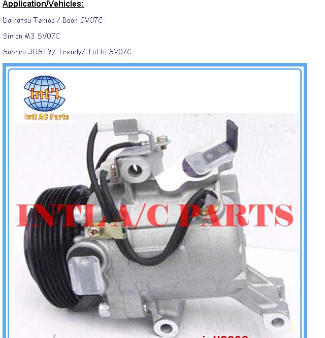 New auto car ac a//c Compressor /& clutch for Daihatsu Terios Boon// Toyota Passo