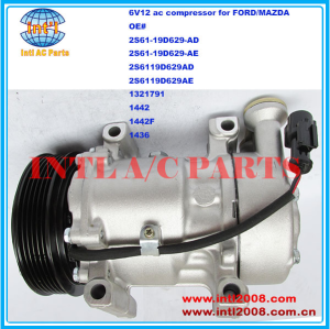 2S6119D629AD 2S6119D629AE 1321791 1442 1442F 1436 SANDEN SD6V12 auto aircon ac compressor for FORD FIESTA/FUSION/MAZDA 2 DIESEL China supply 1500822  2S6119D629AF