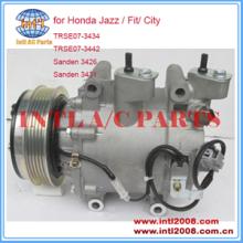 Compressor Para A/c Sanden Trse07 Honda Jazz/Fit/Cidade TRSE07-3434 Sanden 3426 3431 38800-RB7-Z02 38810-RLC-014