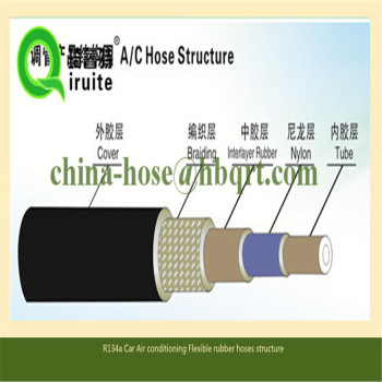 Black R134a Auto Air Conditioning rubber Hose