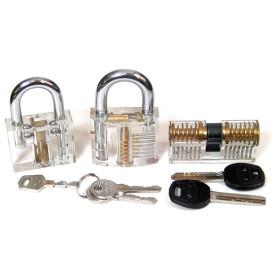 2015 high quality New cutaway inside view practice lock padlock lock three practice locks package together HS020165