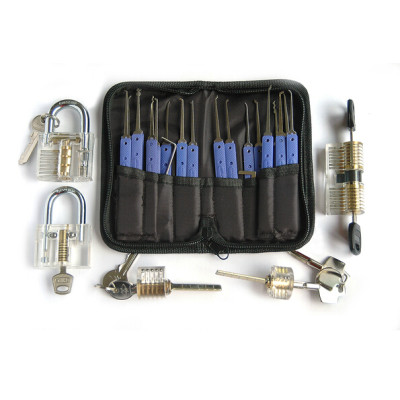 high quality transparent practice lock set locksmith tools lock picks set