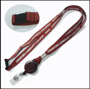 Petractable reeler clamp  neck polyester lanyard