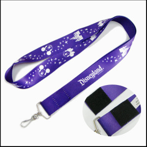 Sublimation print logo  neck strap with velcro buckle