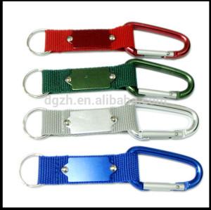 Nylon karabiner schlüsselanhänger wih metall-logo