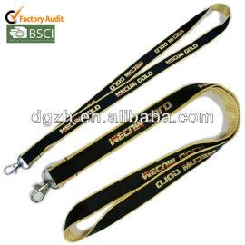 Moda oro tessuto raso cordini, logo personalizzato lanyads raso
