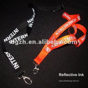 Reflexivo cordón con logo impresión de seda reflectantes de tinta