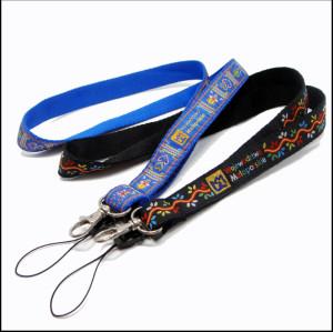 Phone holder necklace lanyards with custom logo woven satin