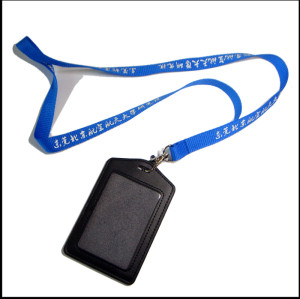 Leather card holder polyester lanyards for ID card