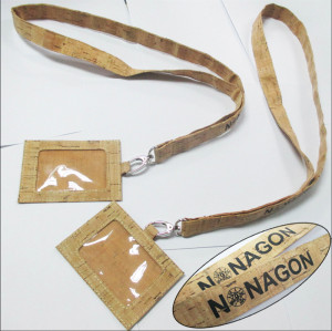 Friendly cork lanyards with cork ID card badge