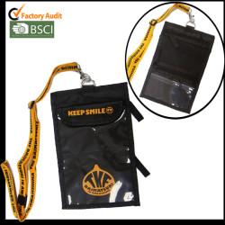黑色大证件袋多功能证件包有脖子挂绳