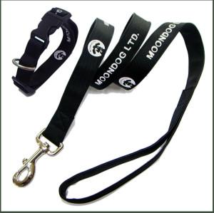 贴反光图加PU皮两层宠物牵引带和脖圈带