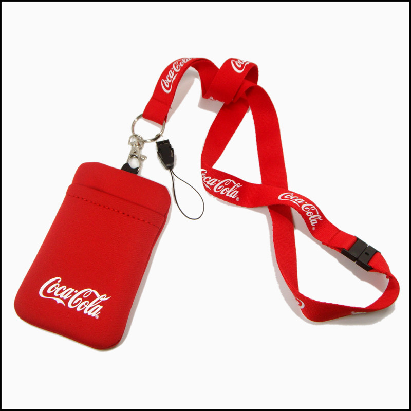 polyester lanyards with cell phone purse