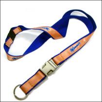 New style silkscreen print custom logo satin and metal insert buckle  neck straps