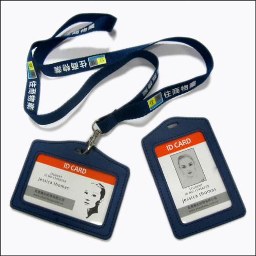 Screen printing logo neck lanyards with business ID card bag ...