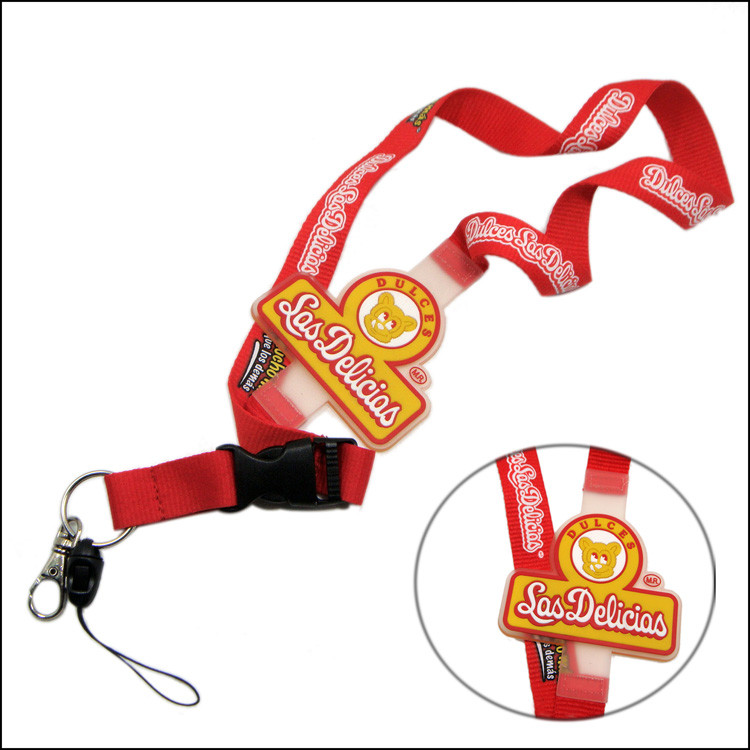 silicone logo sublimation polyester lanyards with plastic buckle