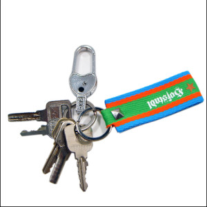时尚条纹印花logo钥匙挂饰