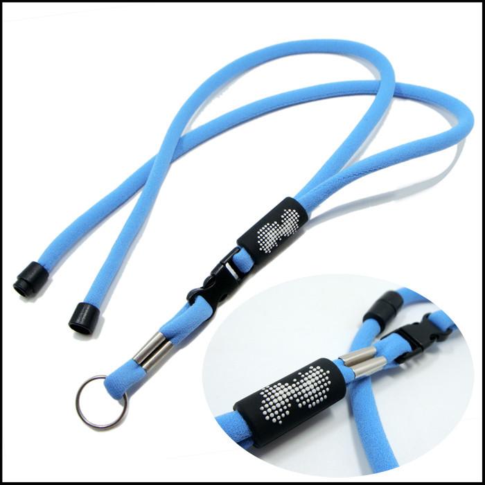 天蓝色高弹纱柔软亲肤圆绳挂带证件带厂牌带