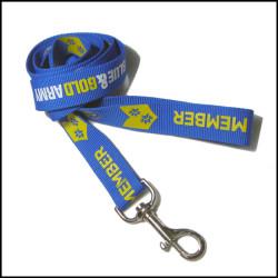 Blue broad-brush polyester printing custom logo dog leashes