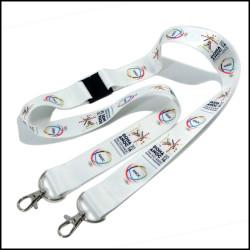 热转印双钩扣奥运入场证吊带国际比赛工作证挂绳胸牌吊绳