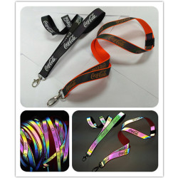 Printing custom logo Magical reflective neck lanyards for sales