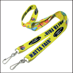 Two metal swivel J hook colourful polyester  id card rope holder neck strap