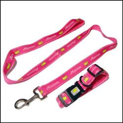 提花织唛带反光条安全的狗狗牵引绳宠物带宠物脖圈遛狗绳