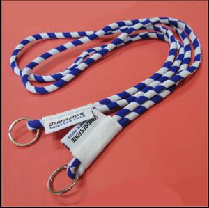 蓝白间色包芯高弹纱柔软微弹不勒脖证件挂绳手机挂绳校卡织带