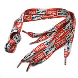 Sublimation logo V-shaped weaving polyester fabric shoelaces
