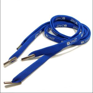 蓝色扁平双层编织鞋带铁头鞋带网版印刷工厂专业生产鞋带