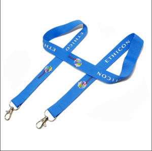 With two metal hooks Polyester custom single CMYK printing lanyard