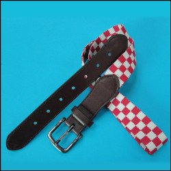 提花红白方格车缝真皮时尚腰带