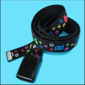 可爱多彩图案丝印织唛面带高档自动扣涤纶腰带